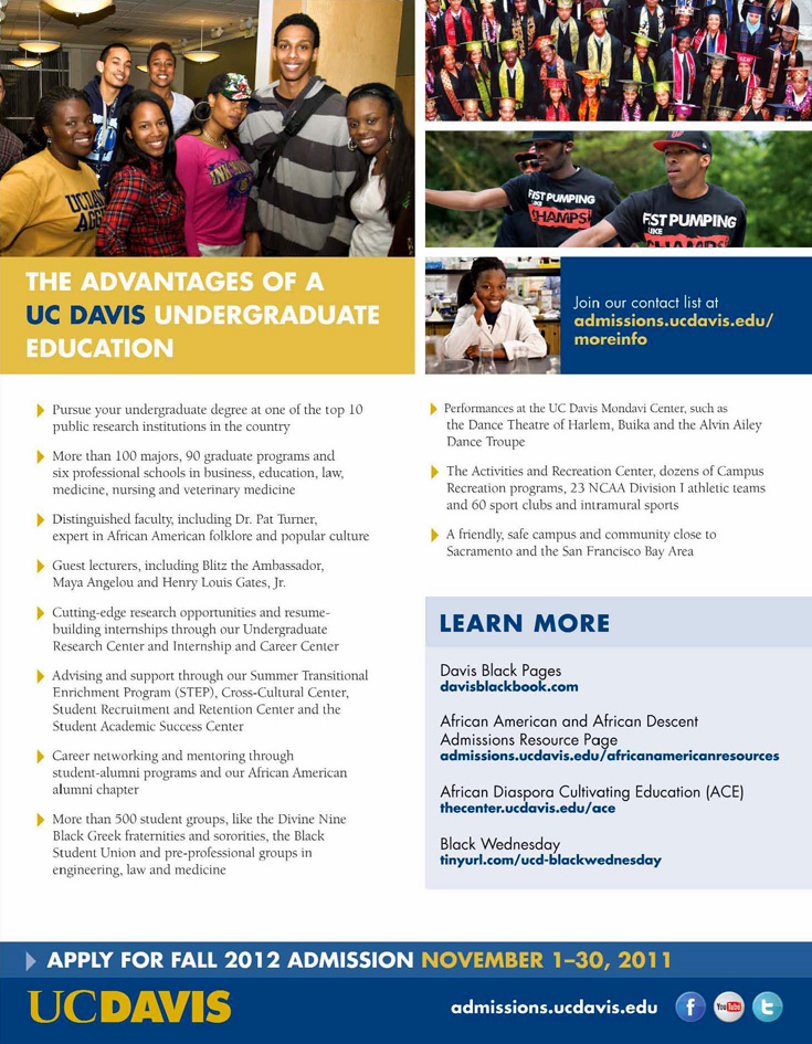 Apply for Fall 2012 Admission - Pursue your Undergraduate Degree at UC Davis