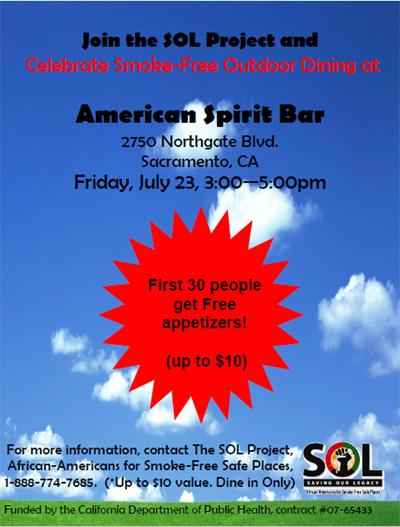 Smoke-Free Outdoor Dining areas at American Spirit Bar