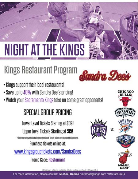 TEAM UP with Sandra Dee's and SAVE with THE KINGS