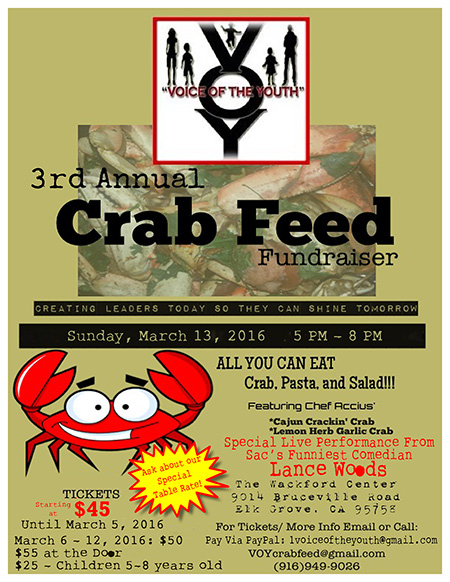 3rd Annual Crab Feed on March 13