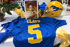 "funeral services for slain Grant High School football player - cornerback, Jaulon ""JJ"" Clavo"