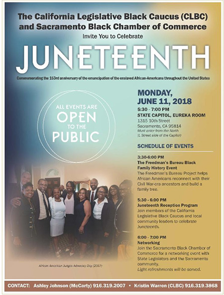 REGISTER to attend California Legislative Black Caucus (CLBC) and the Sacramento Black Chamber of Commerce (SBCC) to commemorate Juneteenth