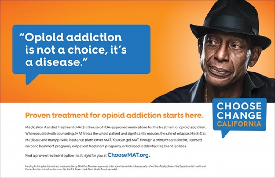 """Opioid addiction is not a choice, it's a disease"" - ChooseMAT.org"