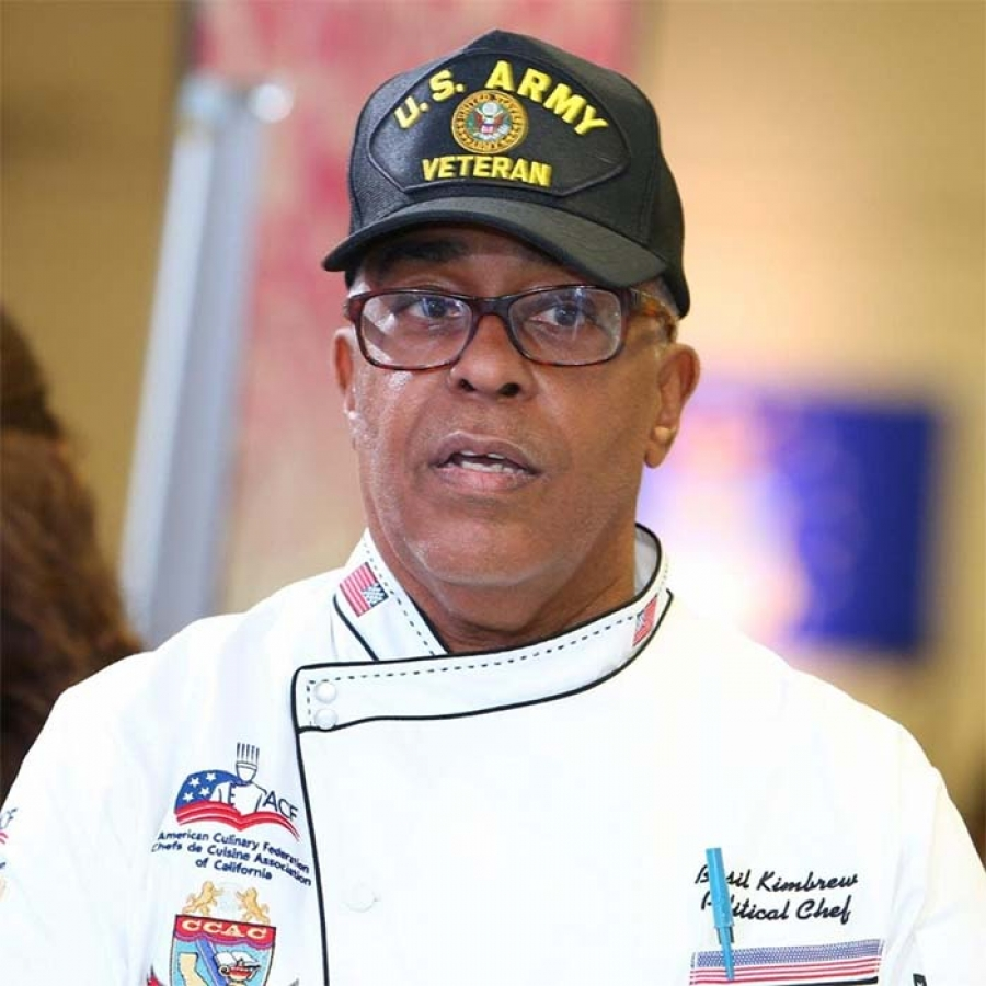 Chef Basil Kimbrew New Acting Chair California Democratic Party Veterans Caucus, thanks the People with a Special Message
