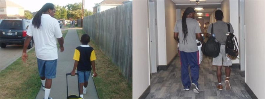 Viral tweet shows dad walking son to kindergarten, sending him off to college