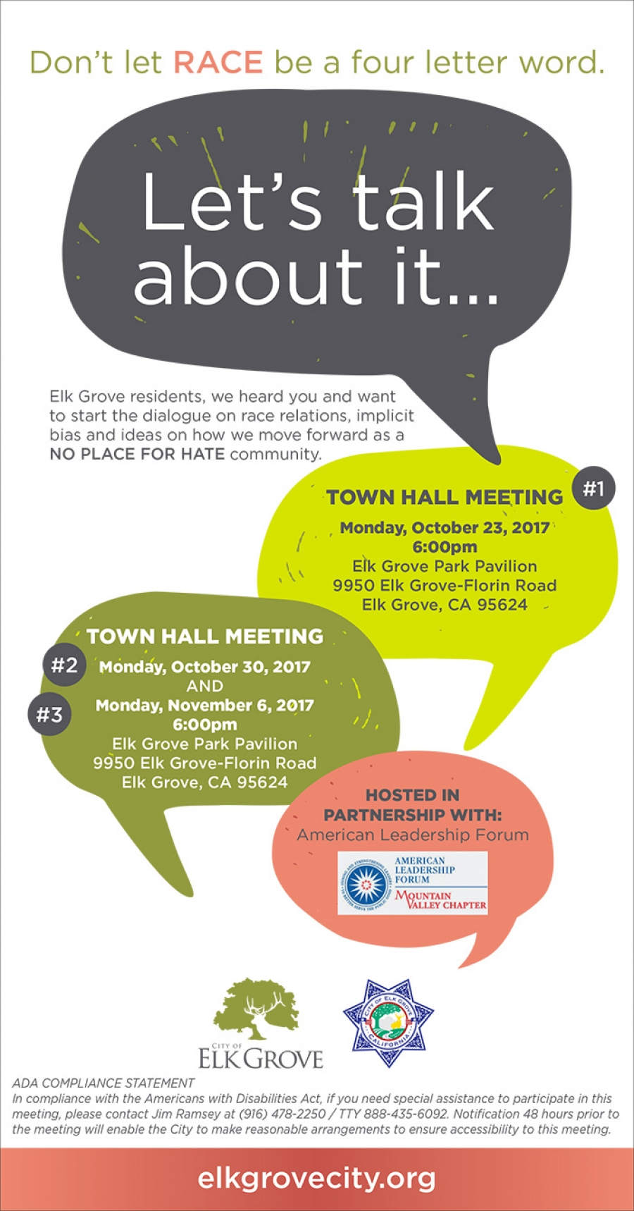 Town Hall Meeting in Elk Grove.  Don't let RACE be a four letter word - LET'S TALK ABOUT IT!
