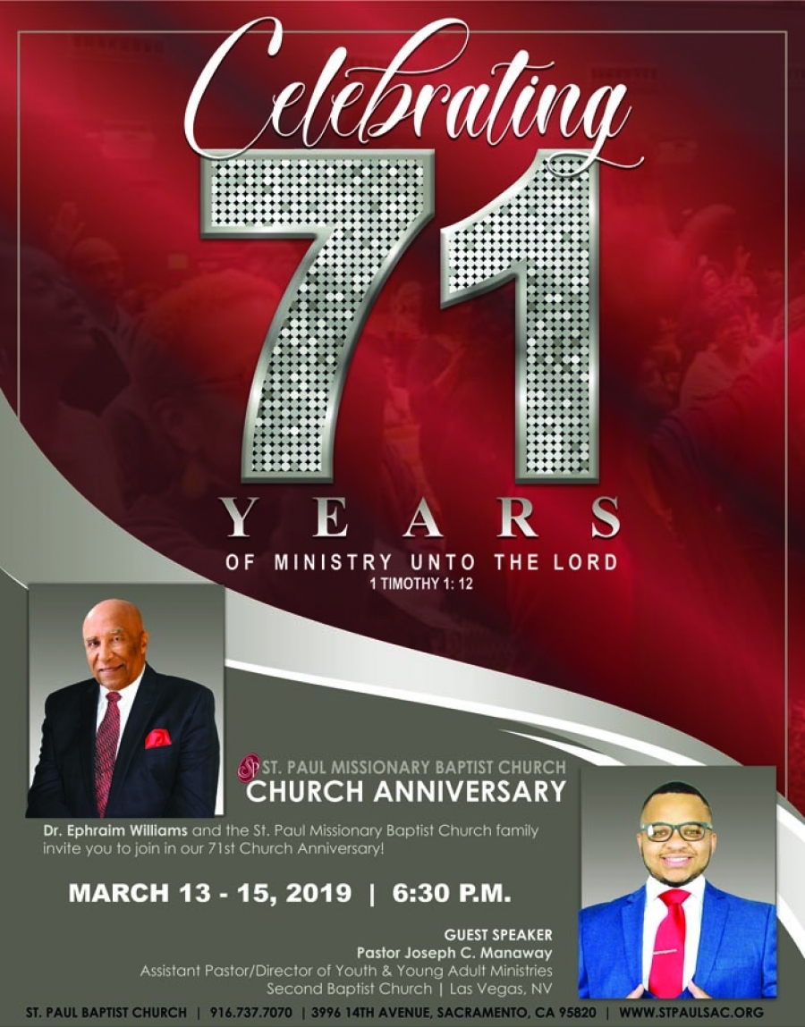 Celebrating 71 years of Ministry with Pastor Dr. Ephraim Williams at St. Paul Missionary Baptist Church Anniversary