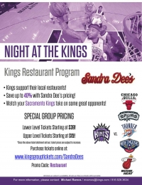 Team Up and Save with The Kings   = Sandra Dee's BBQ and Seafood
