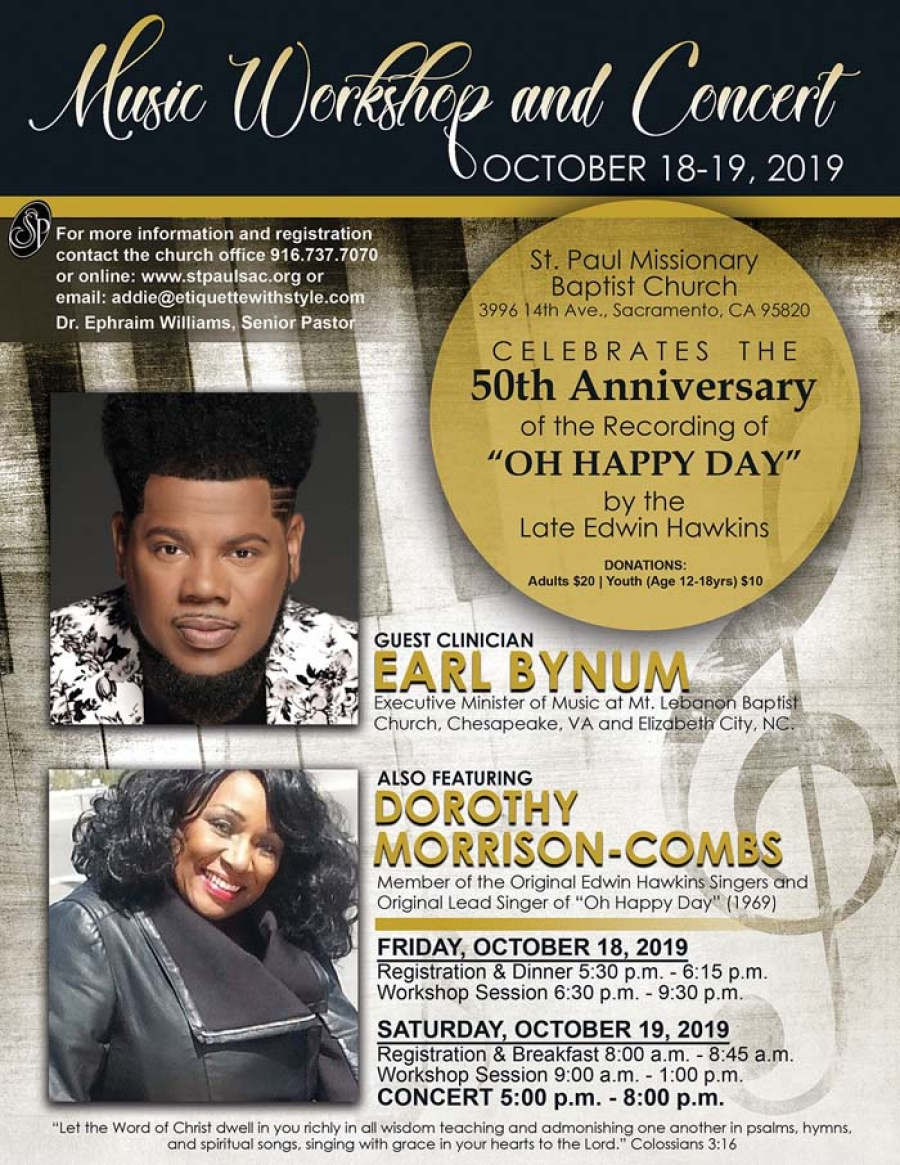 "Music Workshop & Concert in celebration of the 50th Anniversary of the Recording of ""Oh Happy Day"" by the late Edwin Hawkins"