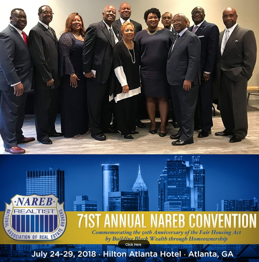 (in photo above Stacey Abrams, Georgia Gubernatorial Candidate with current President of NAREB - Jeffrey Hicks and past presidents of NAREB)