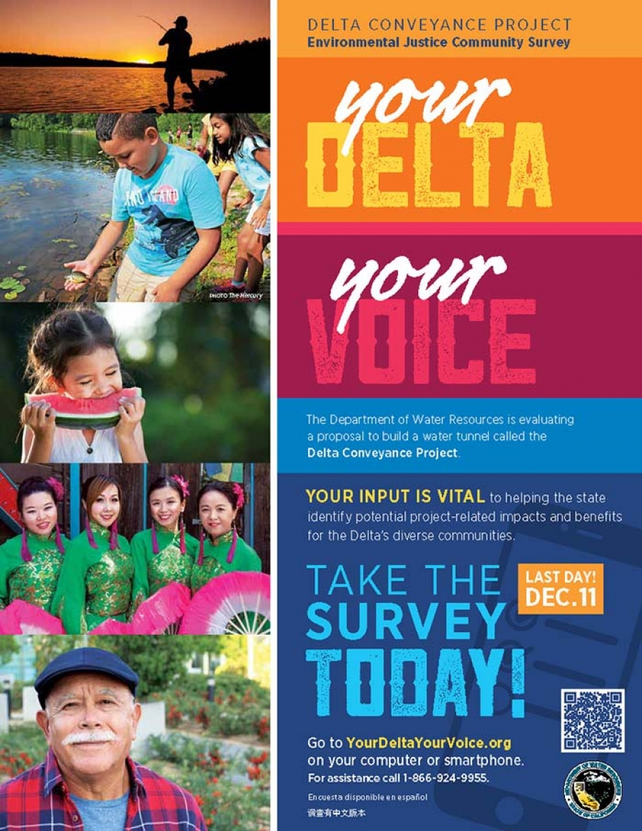 Take the Delta Conveyance Project Environmental Justice Community Survey!