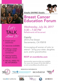 RSVP now for Wed-7/26 Sistahs SAVING Sistahs Breast Cancer Health Forum