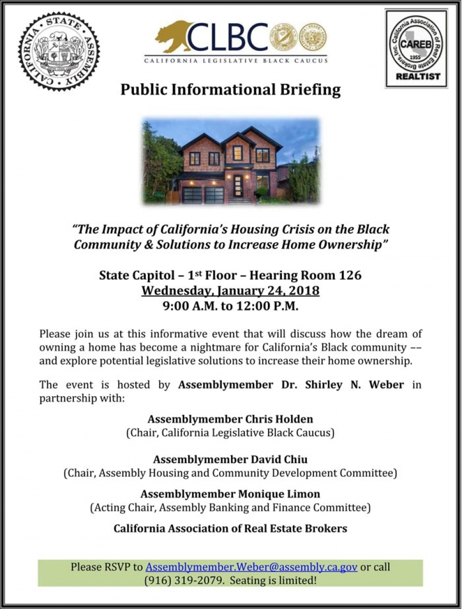 "Public Informational Briefing on ""The Impact of California's Housing Crisis on the Black Community & Solutions to Increase Home Ownership"""