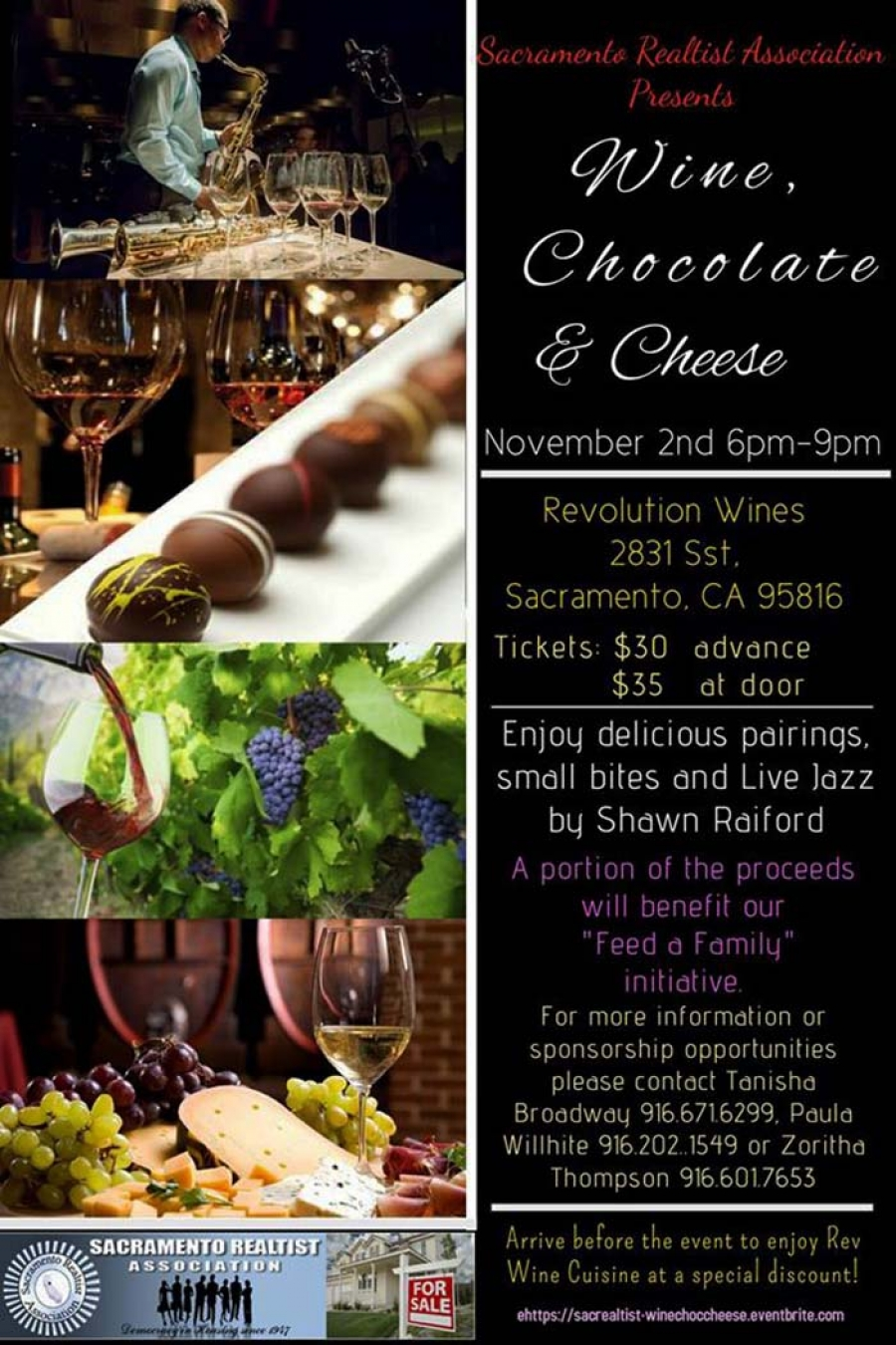 GOT TIX - Wine, Chocolate & Cheese event on Nov 2nd presented by the Sacramento Realtist Association