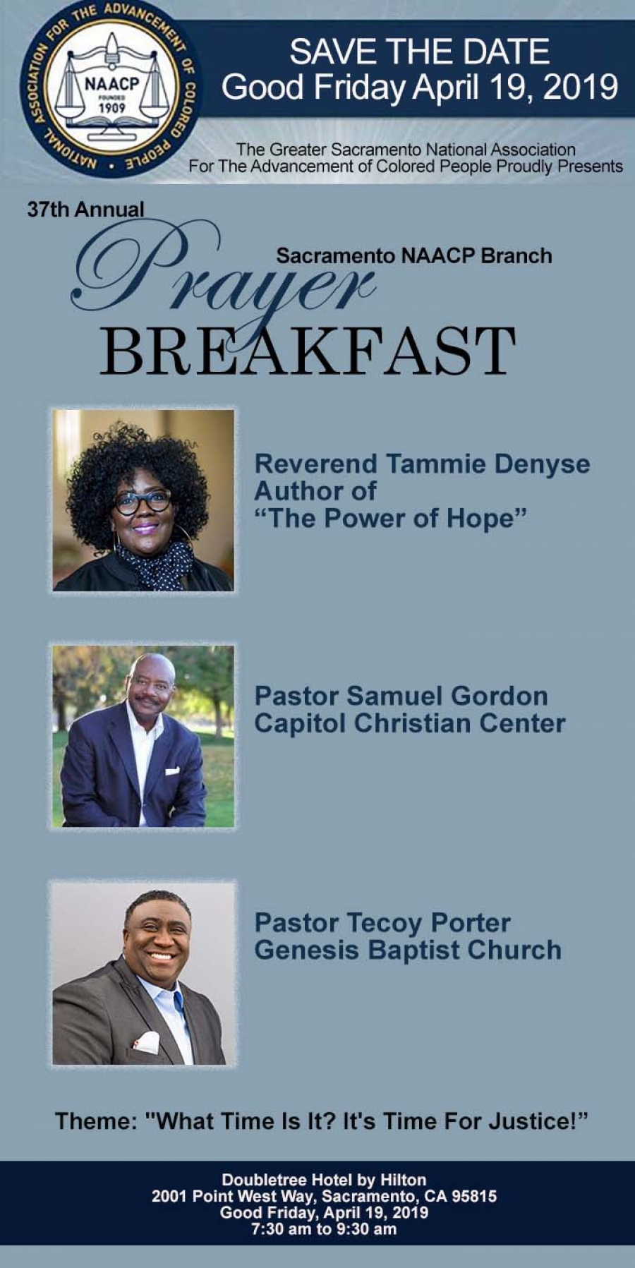 SAVE THE DATE! 37th Annual Sacramento NAACP Branch PRAYER BREAKFAST - April 19th