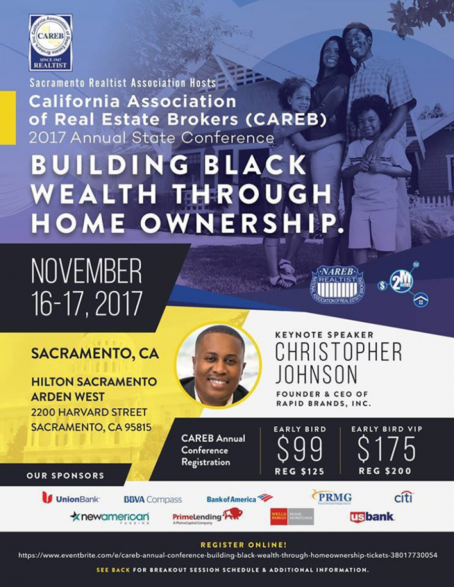 REGISTER NOW for the California Association of Real Estate Brokers (CAREB) 2017 Annual State Conference