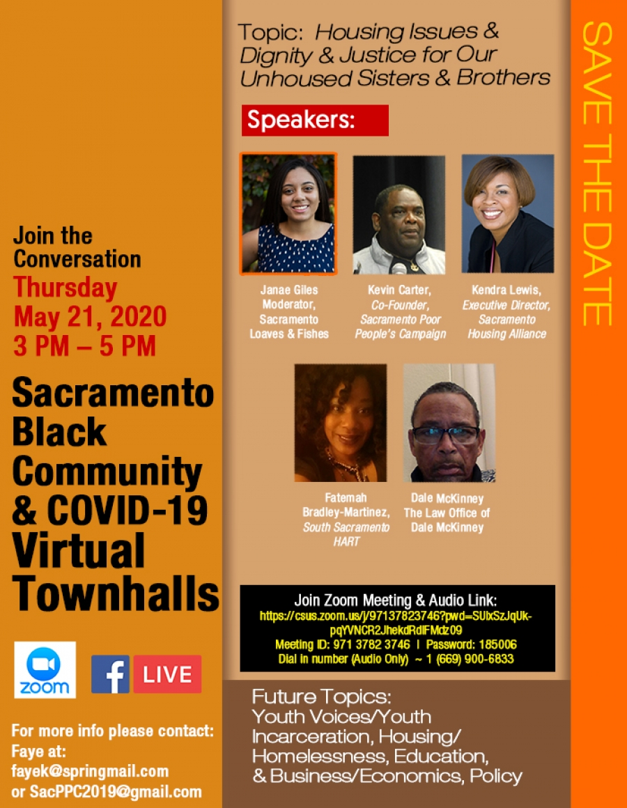 "Virtual Townhall May 21:  ""Housing Issues, Dignity, & Justice for Our Unhoused Sisters and Brothers"""