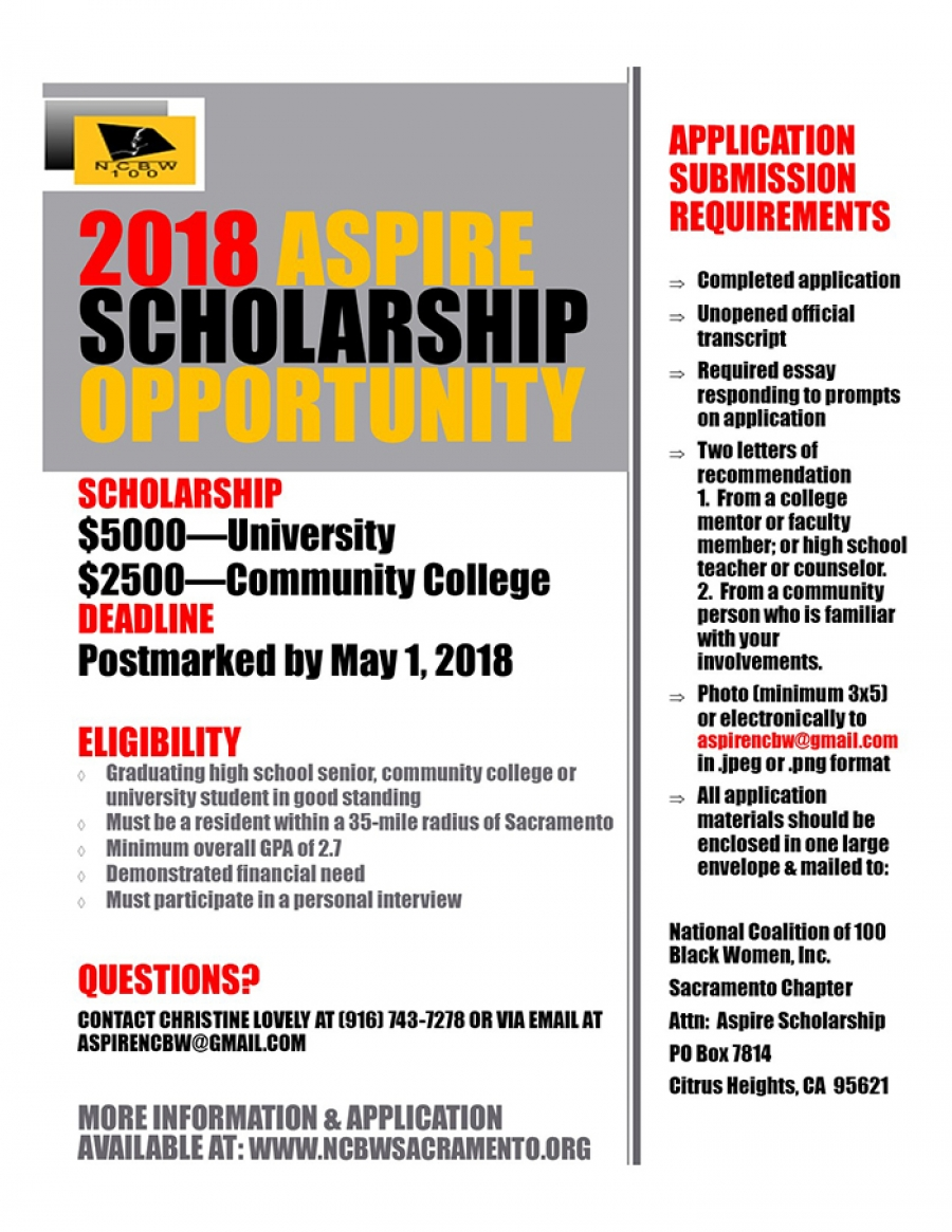 SCHOLARSHIP/EDUCATION OPPORTUNITIES presented by the National Coalition of 100 Black Women Sacramento Chapter
