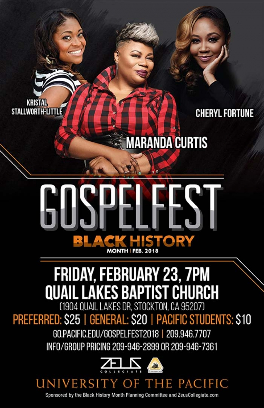 Special group and student rates for GospelFest tonight Fri-2/23