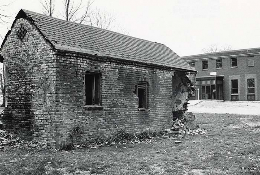 Servants quarters, mentioned in the $510 bill, stands on the grounds of the Virginia Theological Seminary in an undated picture.   |