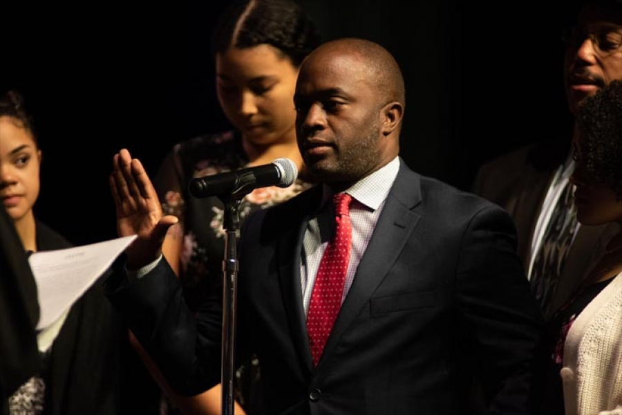 State Superintendent of Public Instruction  Tony Thurman was sworn in on Monday surrounded by his daughters and family as the states first Afro-Latino and second African American to hold the position.