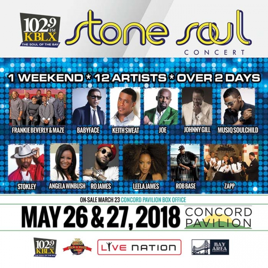 PRESALE TIX for the 2-day 2018 Stone Soul Concert with over 12 artists