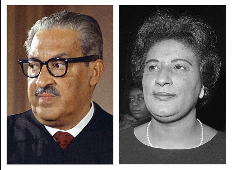 This combo of file photos from Washington show Supreme Court Associate Justice Thurgood Marshall on Oct. 24, 1967; and Constance Baker Motley, nominated to be judge of the southern district of New York, at her confirmation hearing, on April 4, 1966. The NAACP's Legal Defense Fund launched a $40 million scholarship program on Monday, Jan. 18, 2021, to create a new generation of civil rights lawyers. The Marshall-Motley Scholars Program, named for the legal defense fund's founder and Supreme Court Justice Thurgood Marshall, and his staff attorney Constance Baker Motley, who later became the first Black female federal judge.  |