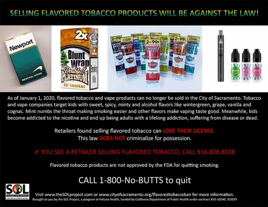 DID YOU KNOW? Selling flavored tobacco products will be against the law!