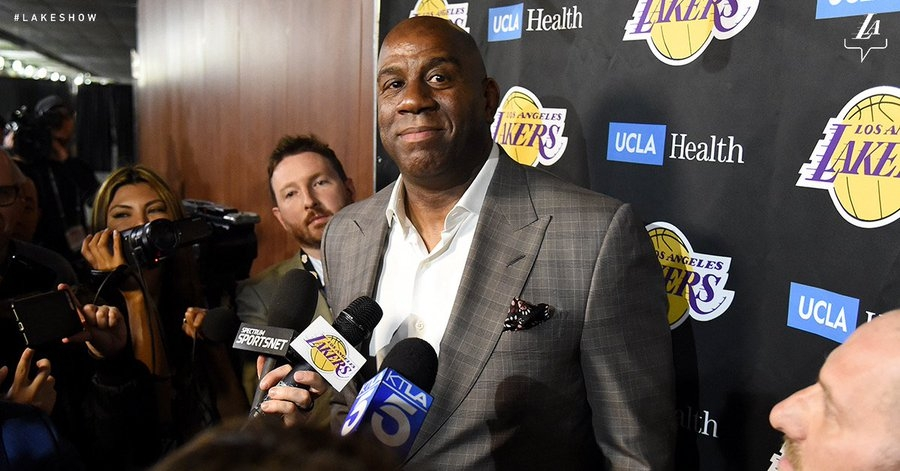 Magic Johnson steps down as president of basketball operations for the Los Angeles Lakers