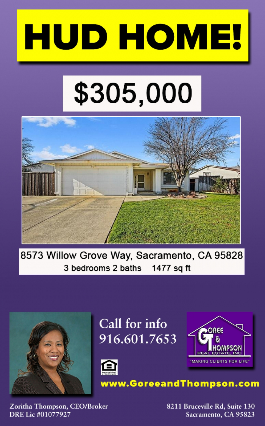 HUD HOME available - 3 bedrooms, 2 baths