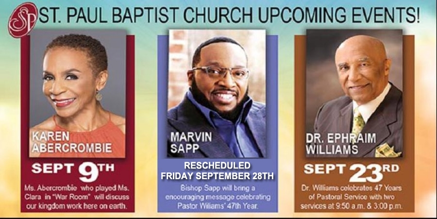 Don't miss St. Paul Baptist Church Special Events with Marvin Sapp and more special guests