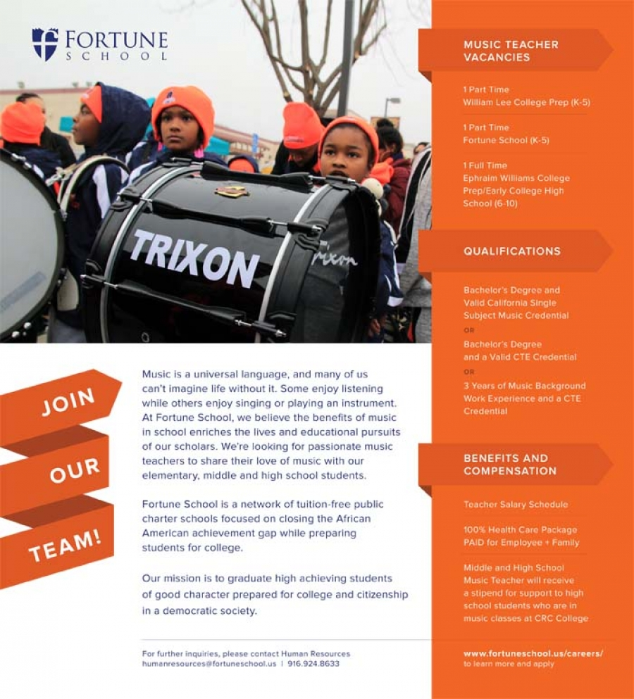 Fortune School is recruiting for Music Teachers