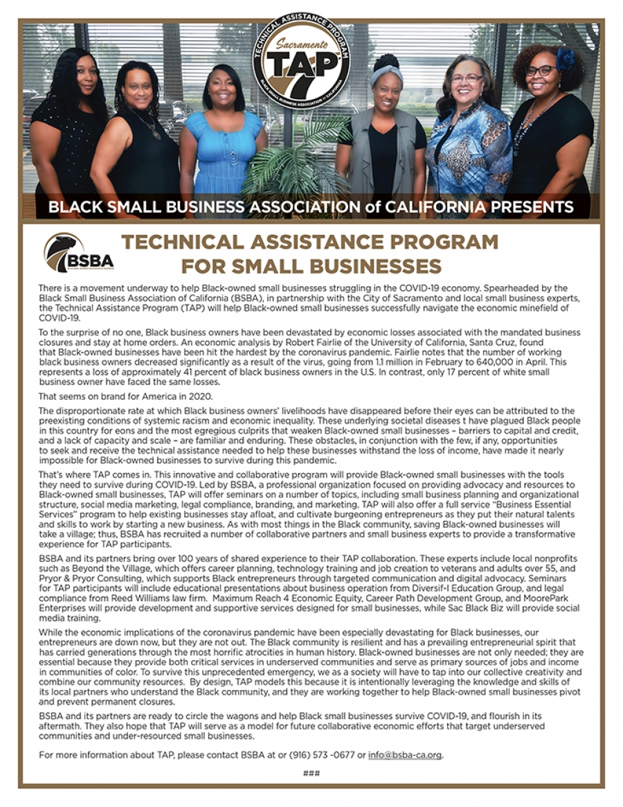 BSBA of California presents the Technical Assistance for Small Businesses