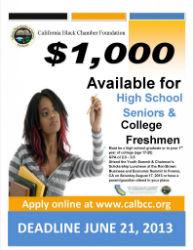 CA Black Chamber of Commerce Foundation Offer Scholarships