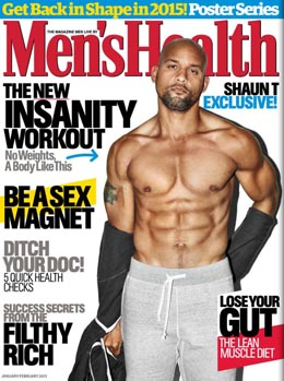 Shaun T on the January 2015 Cover of Men's Health Magazine