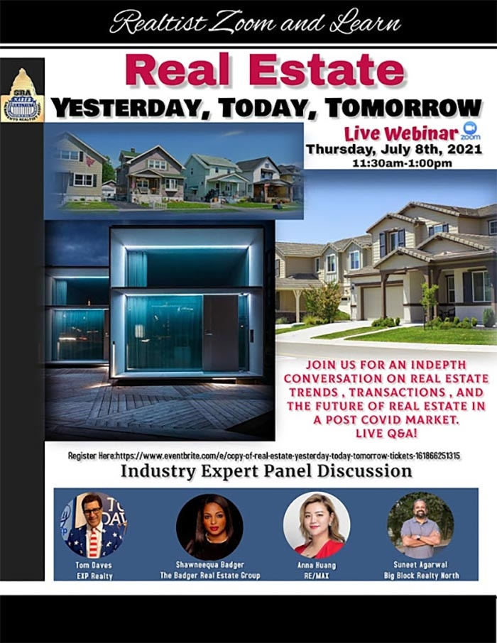 """Sac Realtist presents """"Real Estate: Yesterday, Today, Tomorrow-A Post Covid Market"""""""