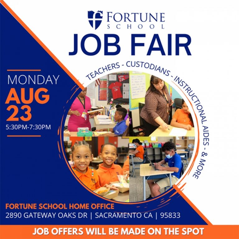Fortune School is HIRING teachers, special education aides, instructional aides, custodians and other staff positions