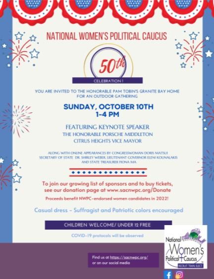 National Women's Political Caucus Sacramento invites you to NWPC 50th Anniversary celebration