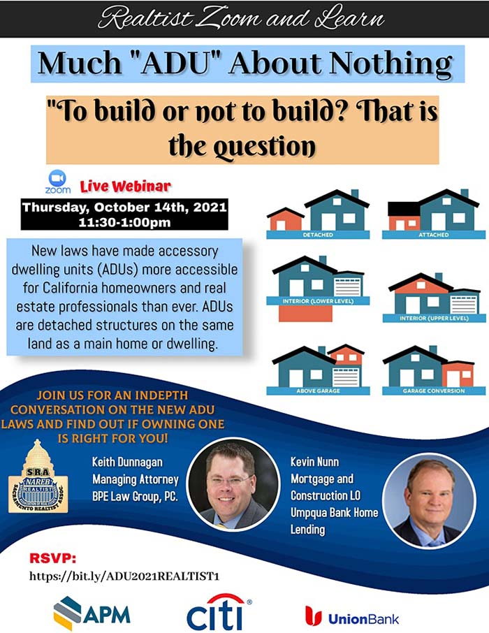 """Thurs-Oct 14    Sac Realtist Zoom & Learn on """"To build or not to build? That is the question""""."""